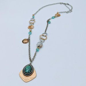 Chico's Mixed Metal Silver Gold Pendant Necklace